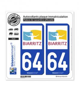64 Biarritz - Ville | Autocollant plaque immatriculation