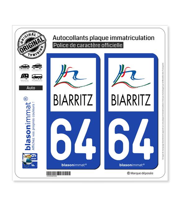 64 Biarritz - Agglo | Autocollant plaque immatriculation