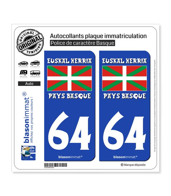 64 Euskal Herria- Drapeau | Autocollant plaque immatriculation
