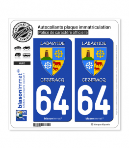 64 Labastide-Cézéracq - Commune | Autocollant plaque immatriculation