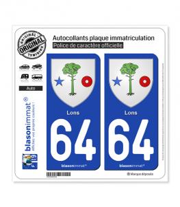 64 Lons - Armoiries | Autocollant plaque immatriculation