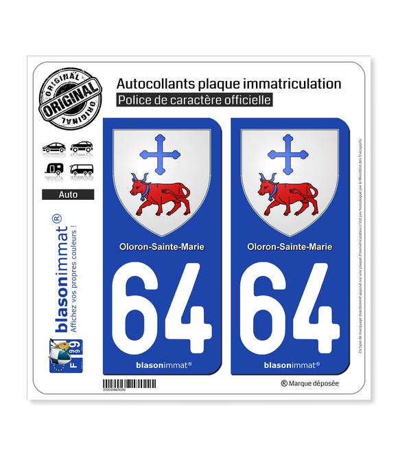 64 Oloron-Sainte-Marie - Armoiries | Autocollant plaque immatriculation