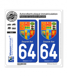 64 Pays Basque - Armoiries | Autocollant plaque immatriculation
