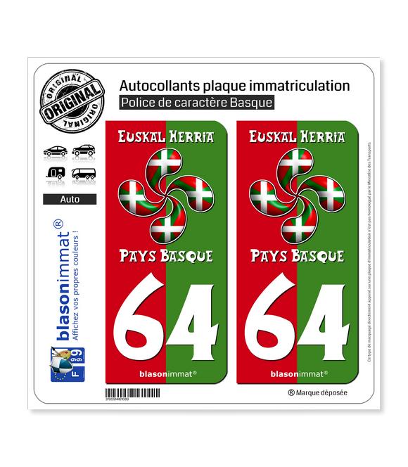64 Pays Basque - Collector | Autocollant plaque immatriculation
