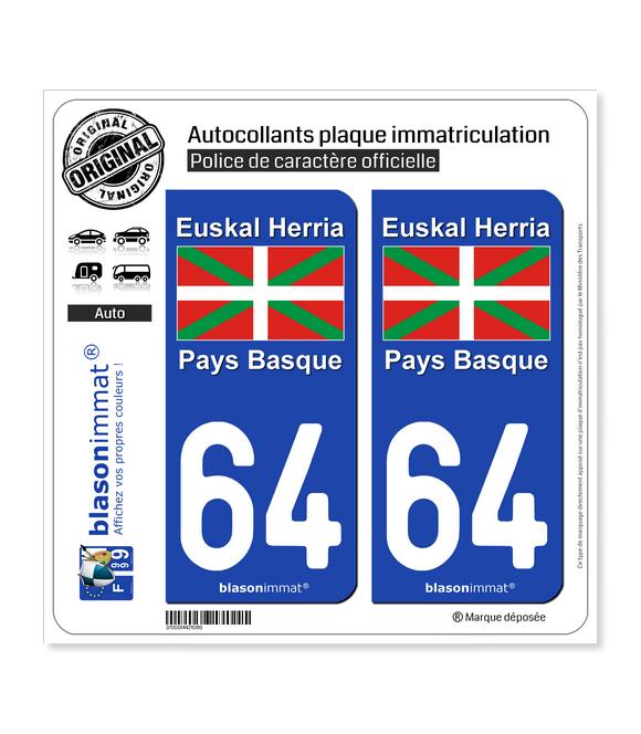 64 Pays Basque - Drapeau | Autocollant plaque immatriculation