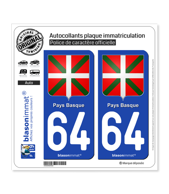 64 Pays Basque - Écusson | Autocollant plaque immatriculation