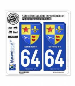 64 Soumoulou - Armoiries | Autocollant plaque immatriculation