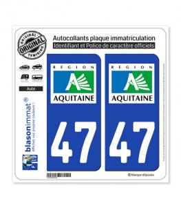 47 Aquitaine - LogoType | Autocollant plaque immatriculation