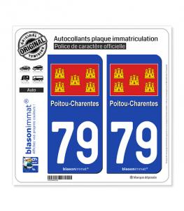 79 Poitou-Charentes - Drapeau | Autocollant plaque immatriculation