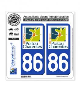 86 Poitou-Charentes - LogoType | Autocollant plaque immatriculation