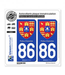 86 Poitou-Charentes - Armoiries II | Autocollant plaque immatriculation
