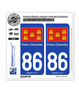 86 Poitou-Charentes - Drapeau | Autocollant plaque immatriculation