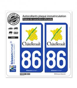 86 Châtellerault - Ville | Autocollant plaque immatriculation