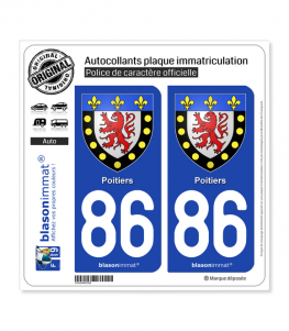 86 Poitiers - Armoiries | Autocollant plaque immatriculation