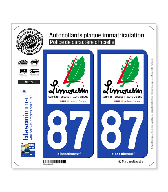 87 Limousin - Tourisme | Autocollant plaque immatriculation