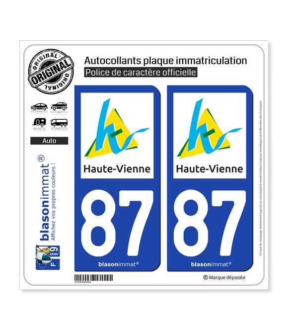 87 Haute-Vienne - Département | Autocollant plaque immatriculation
