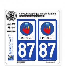 87 Limoges - Ville | Autocollant plaque immatriculation