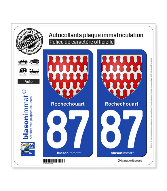 87 Rochechouart - Armoiries | Autocollant plaque immatriculation
