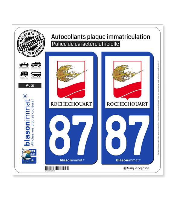 87 Rochechouart - Ville | Autocollant plaque immatriculation