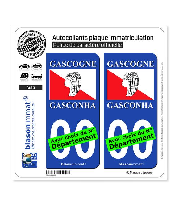 Gascogne - Drapeau | Autocollant plaque immatriculation