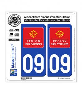 09 Midi-Pyrénées - LogoType | Autocollant plaque immatriculation