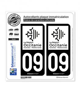 09 Occitanie - LogoType N&B | Autocollant plaque immatriculation