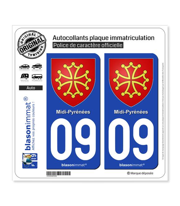 09 Midi-Pyrénées - Armoiries | Autocollant plaque immatriculation