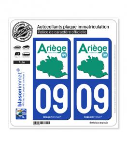 09 Ariège - Département | Autocollant plaque immatriculation