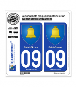 09 Saint-Girons - Armoiries | Autocollant plaque immatriculation