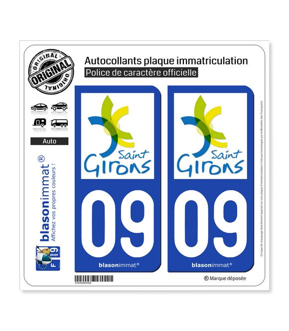 09 Saint-Girons - Ville | Autocollant plaque immatriculation