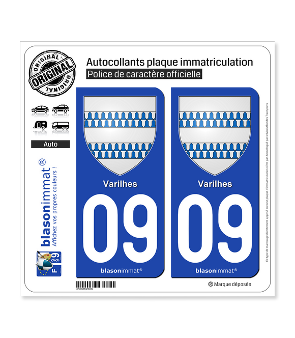 09 Varilhes - Armoiries | Autocollant plaque immatriculation