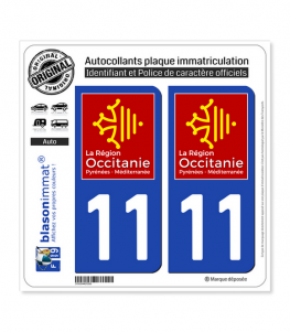 11 Occitanie - LogoType | Autocollant plaque immatriculation