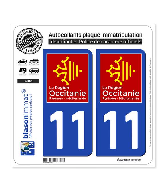 11 Occitanie - LogoType | Autocollant plaque immatriculation