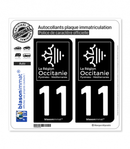 11 Occitanie - LogoType Black | Autocollant plaque immatriculation