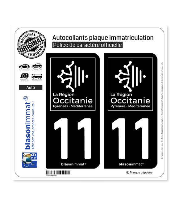 11 Occitanie - LogoType Black | Autocollant plaque immatriculation