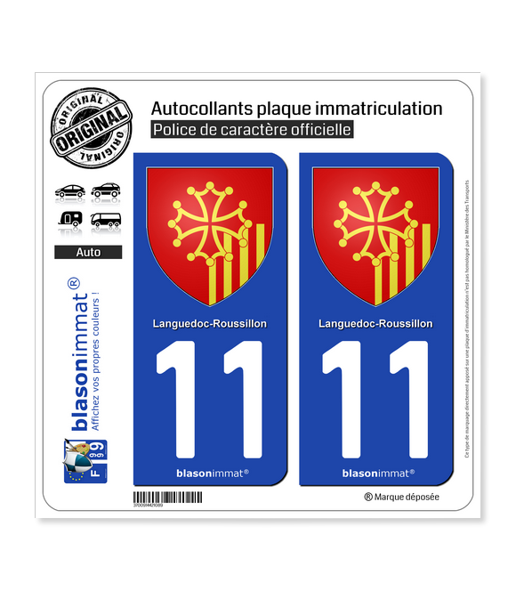 11 Languedoc-Roussillon - Armoiries | Autocollant plaque immatriculation