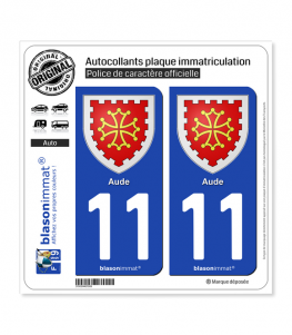 11 Aude - Armoiries | Autocollant plaque immatriculation