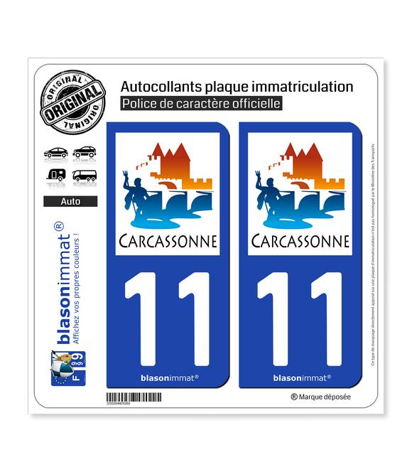 11 Carcassonne - Ville | Autocollant plaque immatriculation