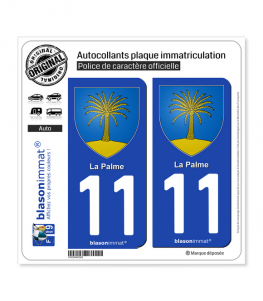 11 La Palme - Armoiries | Autocollant plaque immatriculation