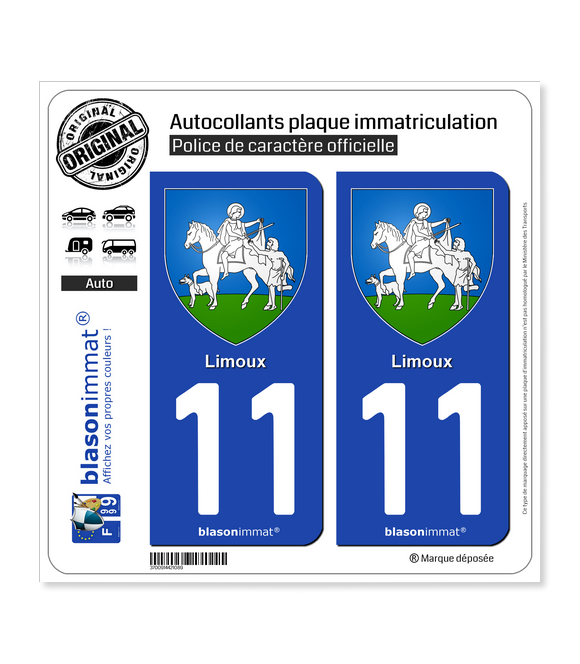 11 Limoux - Armoiries | Autocollant plaque immatriculation