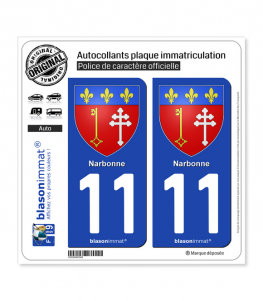 11 Narbonne - Armoiries | Autocollant plaque immatriculation