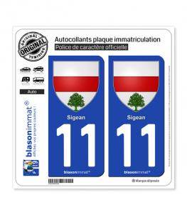 11 Sigean - Armoiries   Autocollant plaque immatriculation