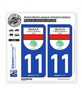 11 Sigean - Commune   Autocollant plaque immatriculation