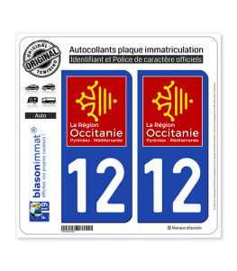 12 Occitanie - LogoType | Autocollant plaque immatriculation