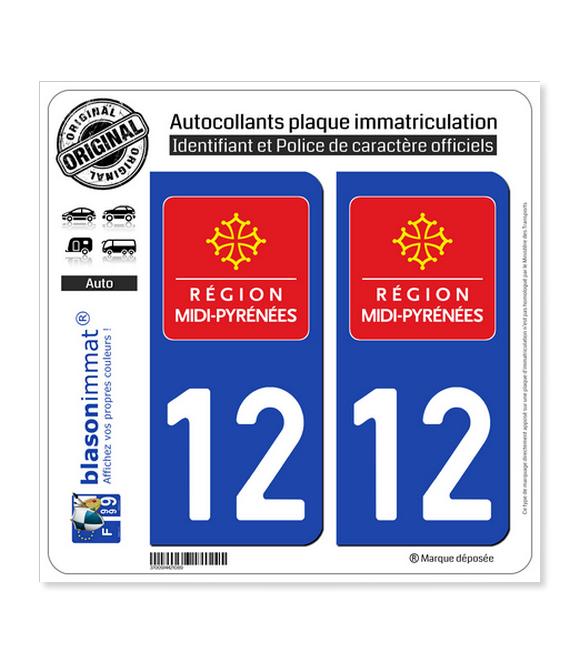 12 Midi-Pyrénées - LogoType | Autocollant plaque immatriculation