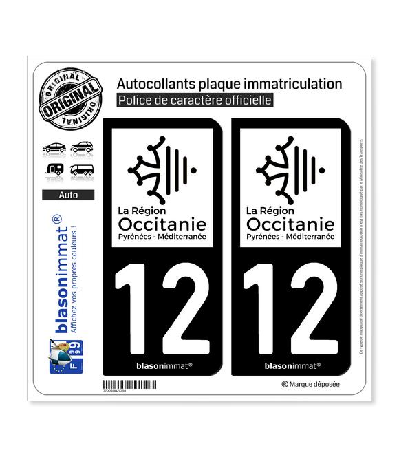 12 Occitanie - LogoType N&B | Autocollant plaque immatriculation