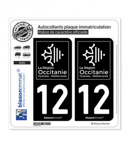 12 Occitanie - LogoType Black | Autocollant plaque immatriculation