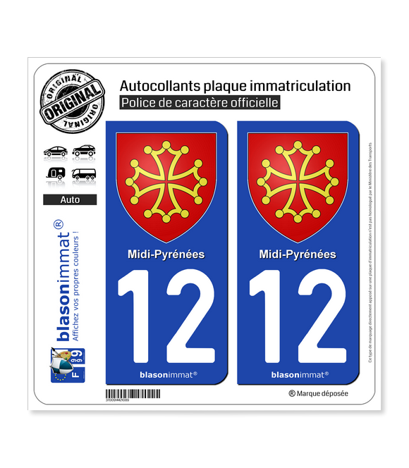 12 Midi-Pyrénées - Armoiries | Autocollant plaque immatriculation