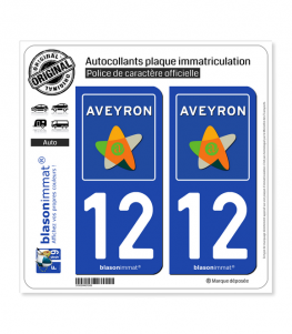 12 Aveyron - Département | Autocollant plaque immatriculation