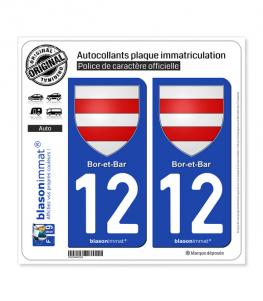 12 Bor-et-Bar - Armoiries | Autocollant plaque immatriculation